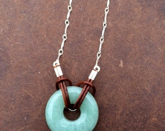 Aventurine, Leather and Silver Necklace