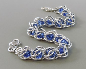 Blue Swarovski Chainmail Bracelet Chainmaille Swarovski Crystal Passions, Captured Chain Mail Bracelet, Blue Bracelet