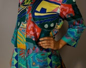 Designer Vintage Psychedelic Tunic XS S M L Ralph Lauren 90s Mod Boho Hippie Gypsy Club Kid Acid Grunge Shirt Dress Print Pop Art Festival