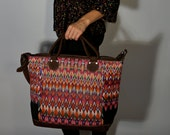 Handmade Guatemalan Weekender Bag Leather Woven Vintage Fabric Boho Hippie Gypsy Bohemian Chic Travel CarryOn Tote OOAK Overnight Luggage