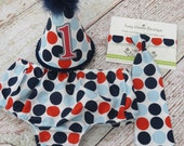 Boys First Birthday Outfit Cake Smash Diaper Cover Tie Party Hat in Navy Red Light Blue Retro Sailor Dot