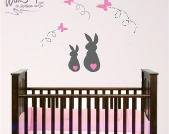 Bunny and Butterfly wall decals, Bunny nurery wall decal