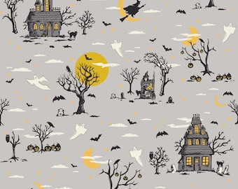 Happy Haunting Halloween Quilt Fabric by Riley Blake, C4670 Gray, Haunting Main Gray, Designer Deena Rutter, Large all Over Halloween Scene