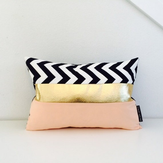 "Chevron Black and White Throw Pillow Cover 13""x18"" Lumbar Cushion Black and White  Zig Zag Color Blocked Metallic Gold Pale Peach"