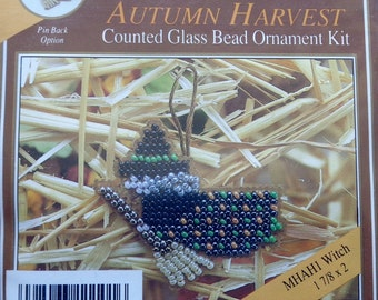 Mill Hill Beads Autumn Harvest WITCH Counted Glass Bead Ornament Kit