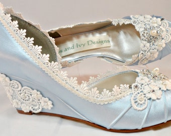 Blue Wedding Wedge Garden Wedge, Lace Wedding Wedge, Outdoor Wedding Heels, Lace Wedges, Open Side Wedge