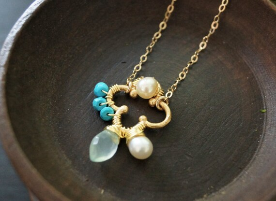 Real pearl, chalcedony, & turquoise wire wrapped cluster pendant necklace