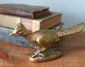 Vintage Brass Roadrunner Bird Figurine / Doorstop / Bookend / Paperweight