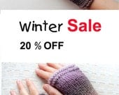 Autumn Trend / Hand Knit Fingerless Gloves / Medium size fits most. / Purple - White / Winter Fashion/ Arm Warmes