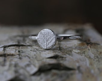 Silver Leaf Ring - Hand Formed Ring Band for Women - Leaf Jewelry by burnish
