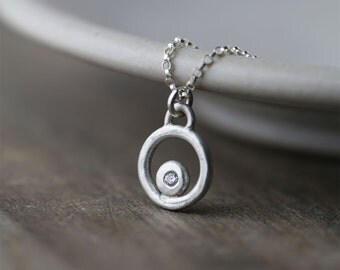 Simple Silver Necklace - Burnish Jewelry - Hand Forged Sterling Silver Pendant Flush Set with CZ