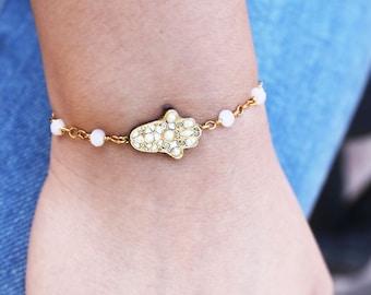 White Hamsa Bracelet