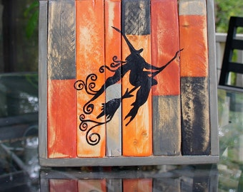 Halloween Flying Witch Distressed Wood Sign
