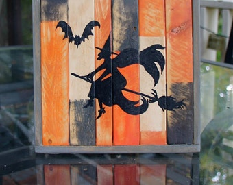 Flying Witch Handpainted Distressed Wood Sign
