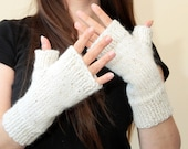 White FINGERLESS GLOVES wool and mohair with sequins by Solandia, short fingerless gloves, spring autumn arm warmers, wristlets