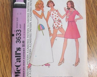 "Easy RETRO A-Line Maxi Dress, Mini Dress & Shorts - Size 14 (Bust 36"") - VINTAGE Sewing Pattern McCalls 3633"
