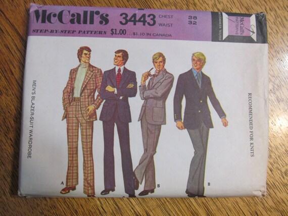 VINTAGE 1970s Men's Slim Fit Suit Jacket & Pants - Size 38 - UNCUT Sewing Pattern McCalls 3443
