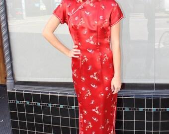 1960s red Cheongsam maxi dress