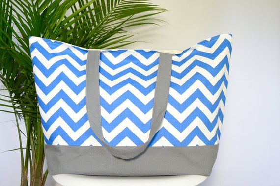 EXtra LARGE Tote Bag, Canvas Beach Tote Bag, Large Beach Bag, Vacation Bag, Weekender Tote, Pool Bag, Gift for Her - 17 Chevron Colors