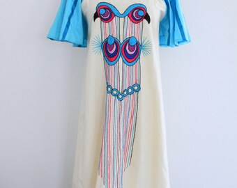 1970s Mexican Dress Bird Embroidery Turquoise Cream Irene Pulos Summer Womens Vintage Medium Large
