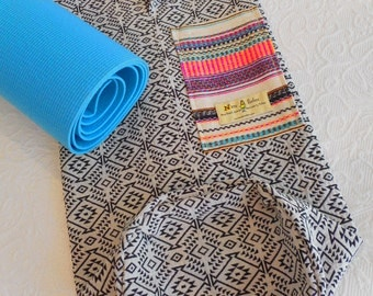 Yoga mat bag - Mexican textiles - Oatmeal / Onyx -  INCA PATTERN- choose trim fabric - includes pocket & beaded draw string.