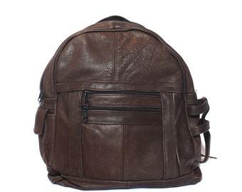 Brown Leather Backpack School Bag Rucksack