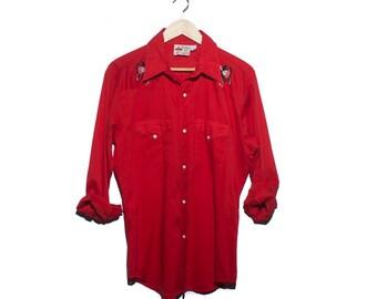 LRG | Men's Cowboy Joe by Atlantic Westerner Embroidered Fancy Red Western Pearl Snap Shirt