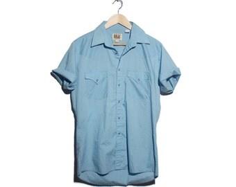 Med | ELY Cattleman Light Blue Pearl Snap Western Short Sleeve Shirt