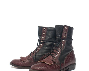 7.5 C | Women's Two Tone Lace Up Ropers Oxblood & Black Lacer Boots by Boulet