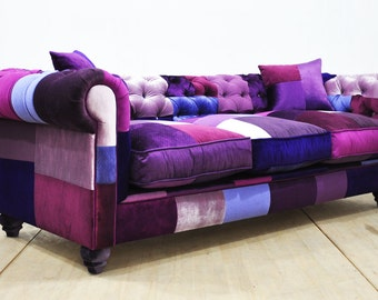 Chesterfield patchwork sofa - purple love