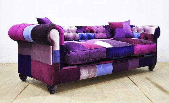Chesterfield Patchwork Sofa Purple Love By Namedesignstudio