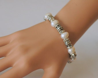 Stretch Bracelet, Fresh Water Pearl bracelet, Silver and Pearl Bracelet, Gift for her, Every day use
