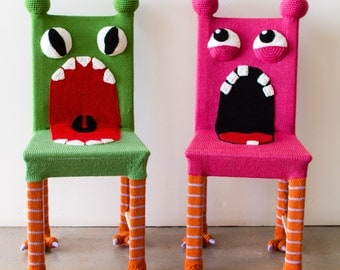 Whimsical Monster Chair, Colorful Kids Furniture, Yarn Bombed Chair, Accent Chair, Kids Chair, Knit Chair, Wooden Chair, Green Chair