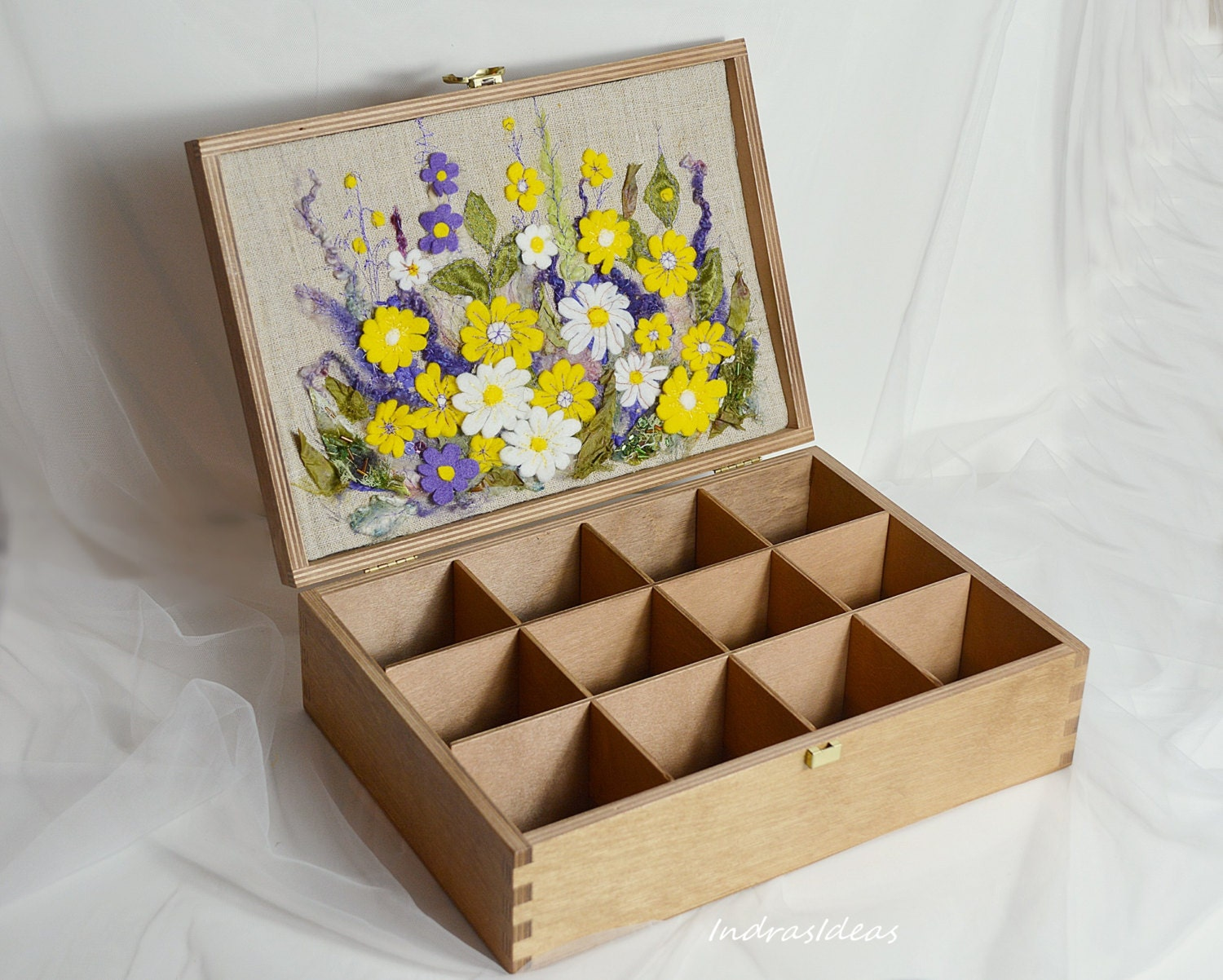 sale wooden tea box tea bag holder tea organizer embroidered. Black Bedroom Furniture Sets. Home Design Ideas
