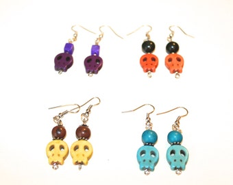 Dyed Magnesite and Acai Seeds Earrings