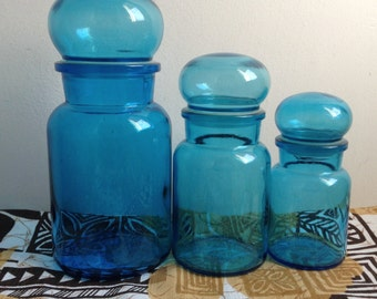 Vintage Apothecary Jar set. Turquoise Blue glass made in Belgium. Panton era. Mid century Kitsch. 1970.