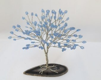 Blue Tree of Life, Blue and Silver Tree Wedding Cake Topper, Blue Wire Wrapped Tree Centerpiece, Blue Seed Bead Tree
