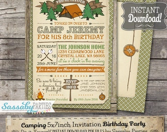 Camping Party Invitation - INSTANT DOWNLOAD -  Partially Editable & Printable Camp, Outdoors Birthday Party Invite by Sassaby Parties