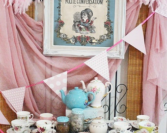 Mad Hatter Tea Party Poster - INSTANT DOWNLOAD - Alice in Wonderland Pastel Birthday Baby Shower Printable Sign Decoration