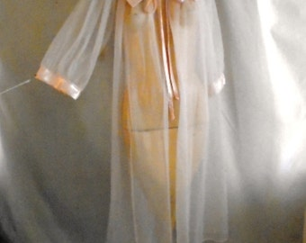 1950's Peignoir Vintage Lingerie Pink Sheer Robe with Satin Trim Full Sweep One Size