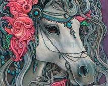 Silver Storm- Carousel horse Illustration