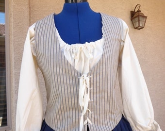 Bodice / vest  custom  made to your size. Pioneer / Historical / Reenactment / Colonials / Living History.