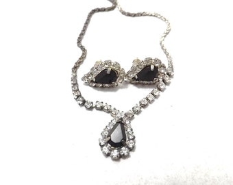 Black glass and Rhinestone teardrop post earrings and necklace set MJ OR BX