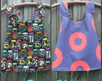 SALE & FREE Shipping Spooky Sample in a Jar Phunky Phish Fishman Reversible Pinafore, size 12 months, ready to ship, FREE Gift Wrap