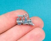 10 TRAIN ENGINE Charm Pendants, Locomotive, Antique Silver chs2128