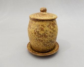 Pottery Honey Jar - Honey Colored Stoneware Clay- Rosh Hashanah - Judaica