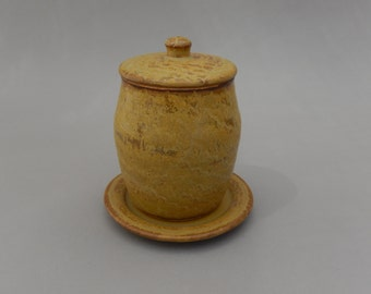 Honey Pot with Lid - Nutmeg Color Pottery