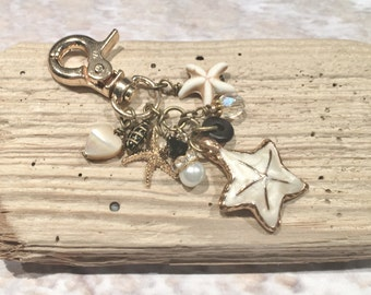 Black and Gold Planner Accessories Starfish Handbag Charms Planner Charms Charm Dangles Purse Charms  Bag Charms Zipper Pulls Sea Lover Gift