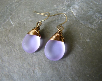 Lilac purple seaglass earrings,  Teardrop wire wrapped earrings, wedding jewelry, bridesmaid's gift teardrop  earrings Bridal Jewelry