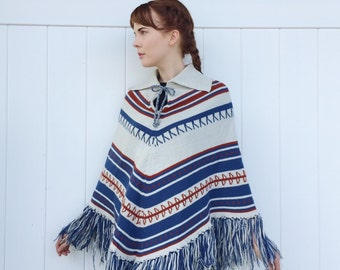 Beautiful Vintage Fringe Poncho Bohemian